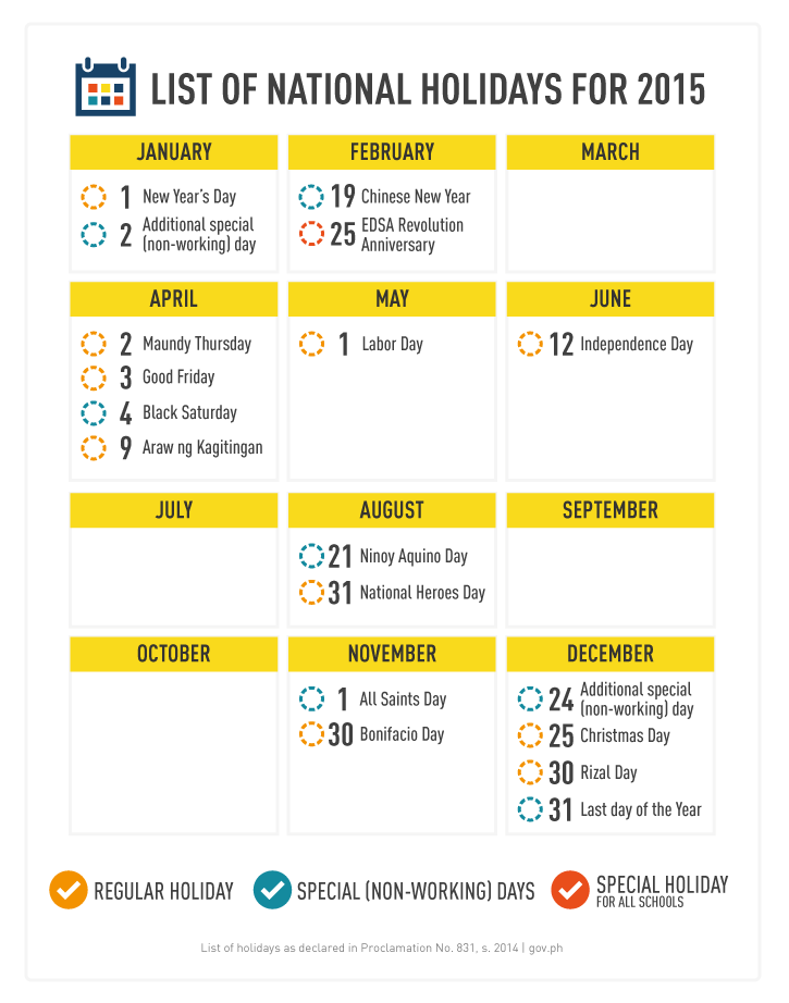 PHILIPPINES' OFFICIAL HOLIDAYS FOR 2015
