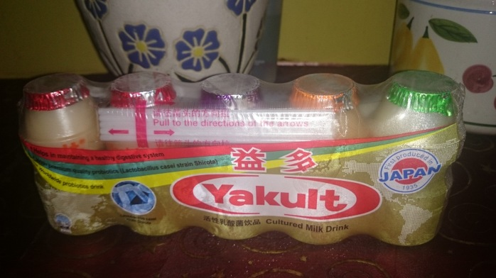 A pack of Yakult with Green Apple, Orange and Grape flavors.  Available only in Singapore for SGD 3.10